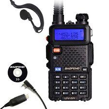 Black Baofeng UV-5R Handheld Radio VHF/UHF 136-174/400-520MHz + USB Cable UK