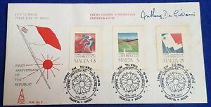 1975 Maltese 1st Anniv of Republic FDC SIGNED BY DESIGNER Anthony De Giovanni