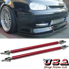 Red Adjustable Front Bumper Lip Splitter Strut Rod Tie Support Bar Universal Fit