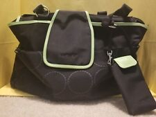 Carters Diaper Bag Large Black Lime Green Changing Pad Compartments Carry Strap