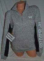 Victoria's Secret PINK Marl Gray Black Logo Perfect Quarter Zip Pullover S NEW