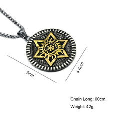 Stainless Steel.Punk Vintage style.large Star of David necklace.Titanium