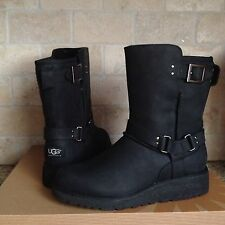 UGG MADDOX BLACK WATER-RESISTANT LEATHER SHEEPSKIN WEDGE BOOT US 7 WOMENS