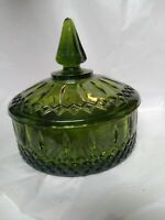 Vintage Indiana Glass Candy Dish With Lid - Dark Green