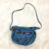 Vintage 80s Shane Blue Denim Zipper Purse Shoulder Bag Hand Bag