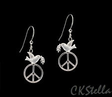 *CKstella*  Peace Dove Olive Branch Pewter Dnagle .925 Sterling Silver Earrings