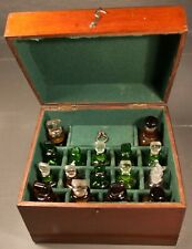 Antique Mahogany Medicine Apothecary Box complete with Bottles