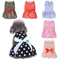 Cute Spring Dots Pet Cat Dress For Dogs Skirt Summer Bow Princess Dog Dresses