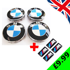 BMW ALLOY WHEEL CENTRE HUB CAPS 68mm + 4 x M SPORT STICKERS