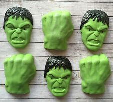 6 Super hero Hulk,edible fondant cupcake toppers,birthday party