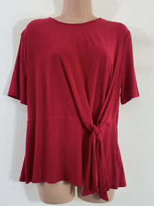 WAREHOUSE red tie front waist detail stretch jersey blouse top size 16