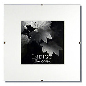 Set of 20 - 10x10 Glass and Clip Frames, Single White Mats for 6x6