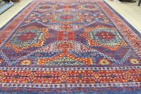 16.5 x24.5 Handknotted Mamluk Wool Rug Blue Gray Yellow Red Color 1/2' Pile