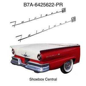1957 1958 Ford Fairlane 500 Quarter Panel Chrome Script Letters Emblems