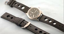 NEW BLACK 20MM RUGBY LEATHER SPORT STRAP - INCLUDES TWO 20mm SPRING BARS