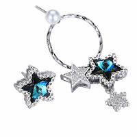 925 Sterling Silver Crystals Swarovski Star Dangle Drop Stud Earrings