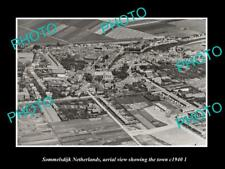 OLD LARGE HISTORIC PHOTO SOMMELSDIJK NETHERLANDS HOLLAND TOWN AERIAL VIEW 1940 2