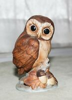 "Vintage Owl Figurine Andrea by Sadek 4"" Tall Bisque Brown #6350 Japan"