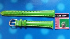 BRACELET MONTRE  /// watch bands /   CUIR  VERT    12MM  / ref: JR132