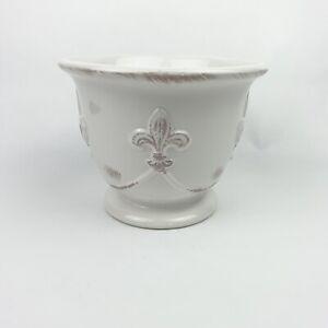 Fleur de Lis White Ceramic Container Planter Pot Rustic French Decor