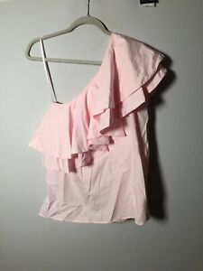 Vivetta Womens Pink Tiered Ruffle One Shoulder Blouse Top Size 42 Aus 10-12
