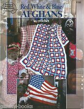 Red White Blue Afghans to Crochet Instruction Patterns Flag Patriotic ASN NEW