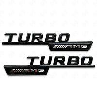 2 x Mercedes AMG Turbo AMG Gloss Black Wing Badges - A C E S GL CLA Class