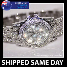 ICED OUT WOMENS SILVER BLING WATCH FAUX DIAMOND CRYSTALS Ladies Dress Gold