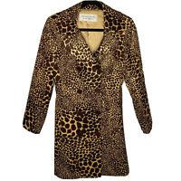 Trina Turk Size 6 Coat Giraffe Print Corduroy Jacket Long Double Breasted Brown