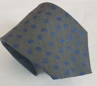 Canali Men's Gray & Blue Silk Wool Blend Necktie Neck Tie 58L 3.75W