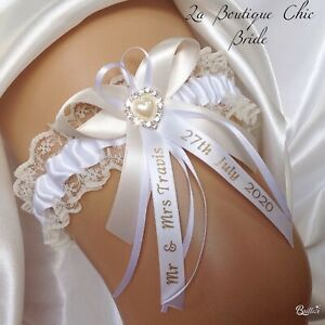 WEDDING GARTER pearls bow fraser  tartan IVORY diamante heart