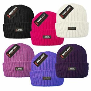 Mens Ladies Thermal Ribbed Beanie Hat Fleece Lined Winter Hat Rockjock Brand