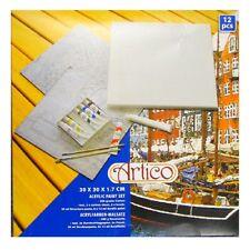 Keilrahmen-Set mit 6 Acrylfarben-Malsatz Malset Artico Acryl 30x30cm 12-teilig