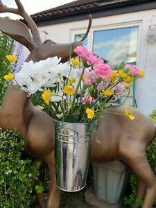 Set of 3 Rustic Vase Vintage Tin Metal Herb Planter Jug Garden Pots Crate  Decor