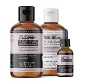 Scandinavian Biolabs Hair Growth Routine For Woman shampoo, conditioner & Serum.