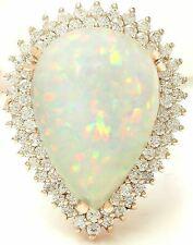 13.18 Carat Natural Opal 14K Solid Rose Gold Diamond Ring