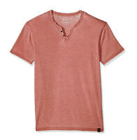 Lucky Brand Men's XXL - NWT$29 Red Short Sleeve Venice Burnout Notch Henley Tee