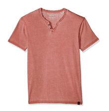 Lucky Brand Men's L - NWT$29 Red Short Sleeve Venice Burnout Notch Henley Tee