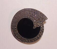 Vintage Sterling Silver 925 Art Deco Style Black Onyx & Marcasite Pin Brooch BIG