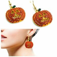 Fashion Women Ear Stud Earrings Pumpkin Crystal Rhinestone Halloween Jewelry