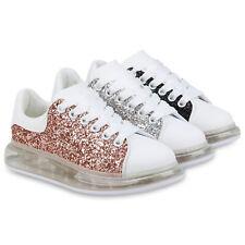 Damen Plateau Sneaker Glitzer Turnschuhe Transparente Schnürer 833516 Schuhe