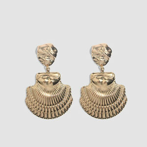 Gold Shell Hammered Statement Plated Fashion Drop Earrings. Zara Jewellery