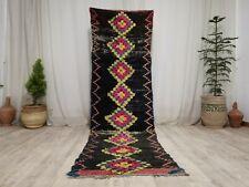 Moroccan Handmade Boujad Runner Rug 2'8x9 Tribal Geometric Black Berber Wool Rug