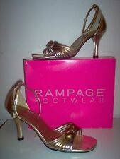 RAMPAGE KEY WEST COPPER GOLD SILVER MIXED METALS STRAPPY BOW HEEL SANDAL 8.5