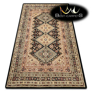 """TRADITIONAL Thick & Soft Classic RUGS """"ROYAL"""" Frame aztec black / beige mustard"""