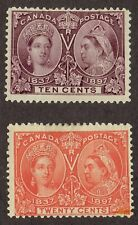 Canada Stamps #57 & 59 MH, OG - 1897 Diamond Jubilee 10 & 20 cents