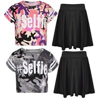 Girls #Selfie Baby Pink & Charcoal Camouflage Print Crop Top & Skater Skirt Set