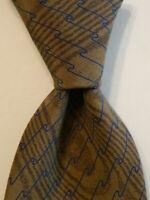 GIORGIO ARMANI Vintage Men's Silk Necktie ITALY Luxury Geometric Brown/Blue EUC