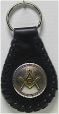 Handcrafted Leather Key Ring Masonic Concho