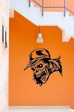 Wall Stickers Vinyl Decal Skull in Baseball Cap Tattoo Death ig686